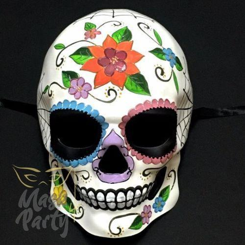 Day Of The Dead Mask - Halloween Sugar Skull - White & Orange - Mask4Party