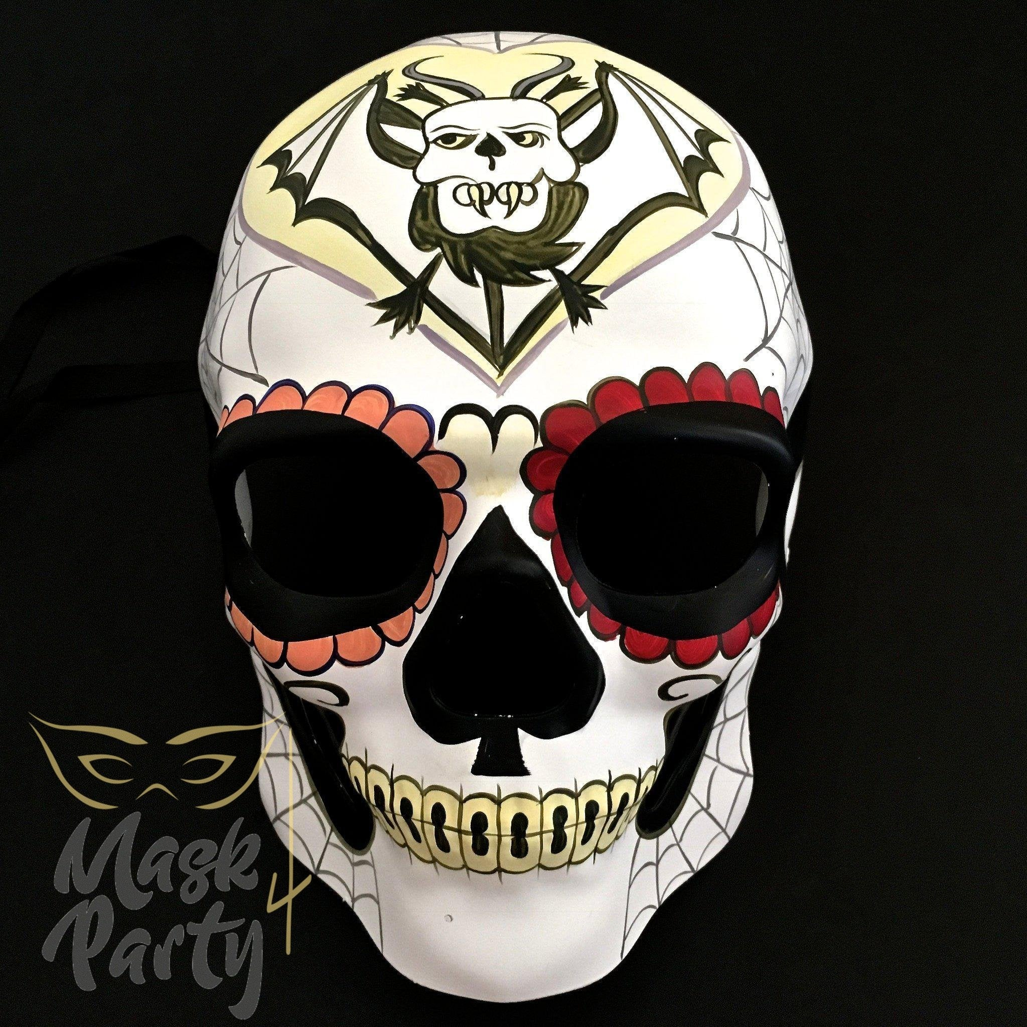 Day Of The Dead Mask - Halloween Sugar Skull - White/Black - Mask4Party