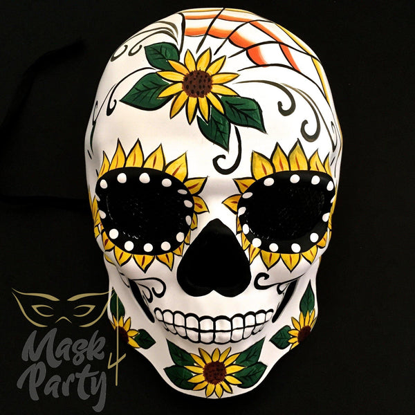 Day Of The Dead Mask - Halloween Sugar Skull - White/Yellow - Mask4Party