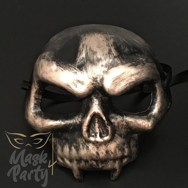 Day Of The Dead Mask - Scary Skull - Black/Gold - Mask4Party