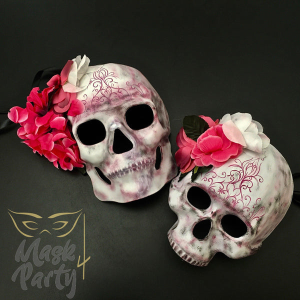 Day Of The Dead Masks - Floral Skull - White/Pink - Mask4Party
