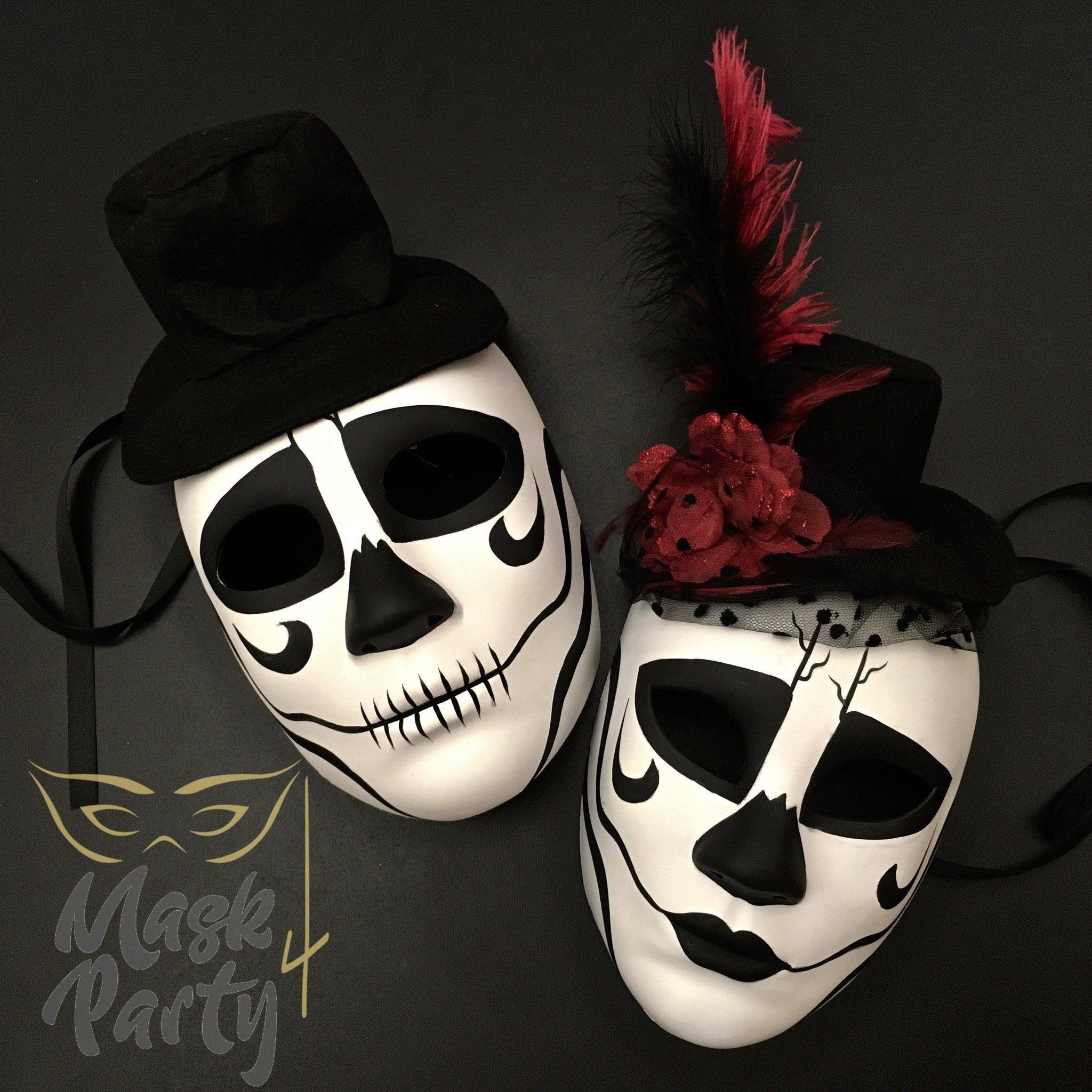 Day Of The Dead Masks - Sugar Skulls - White/Black - Mask4Party