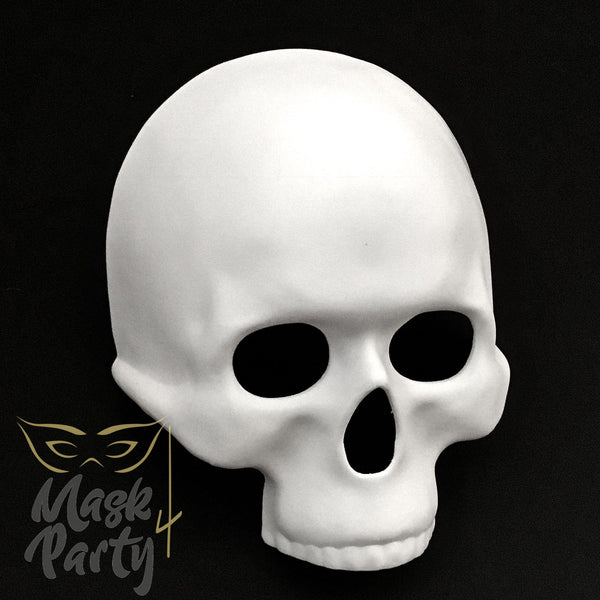 DIY - Day Of The Dead Mask - Half-Face Skull - White - Mask4Party