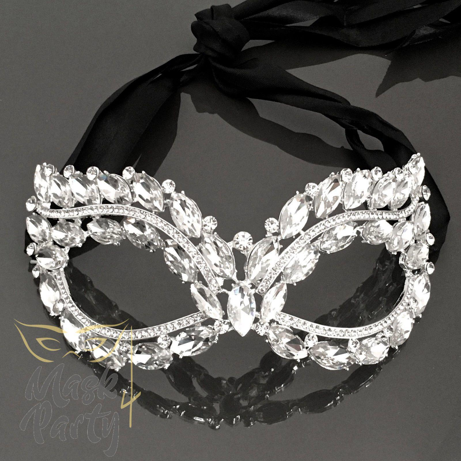 Masquerade Crystal Mask - Filigree Metal Eye - Clear - Mask4Party