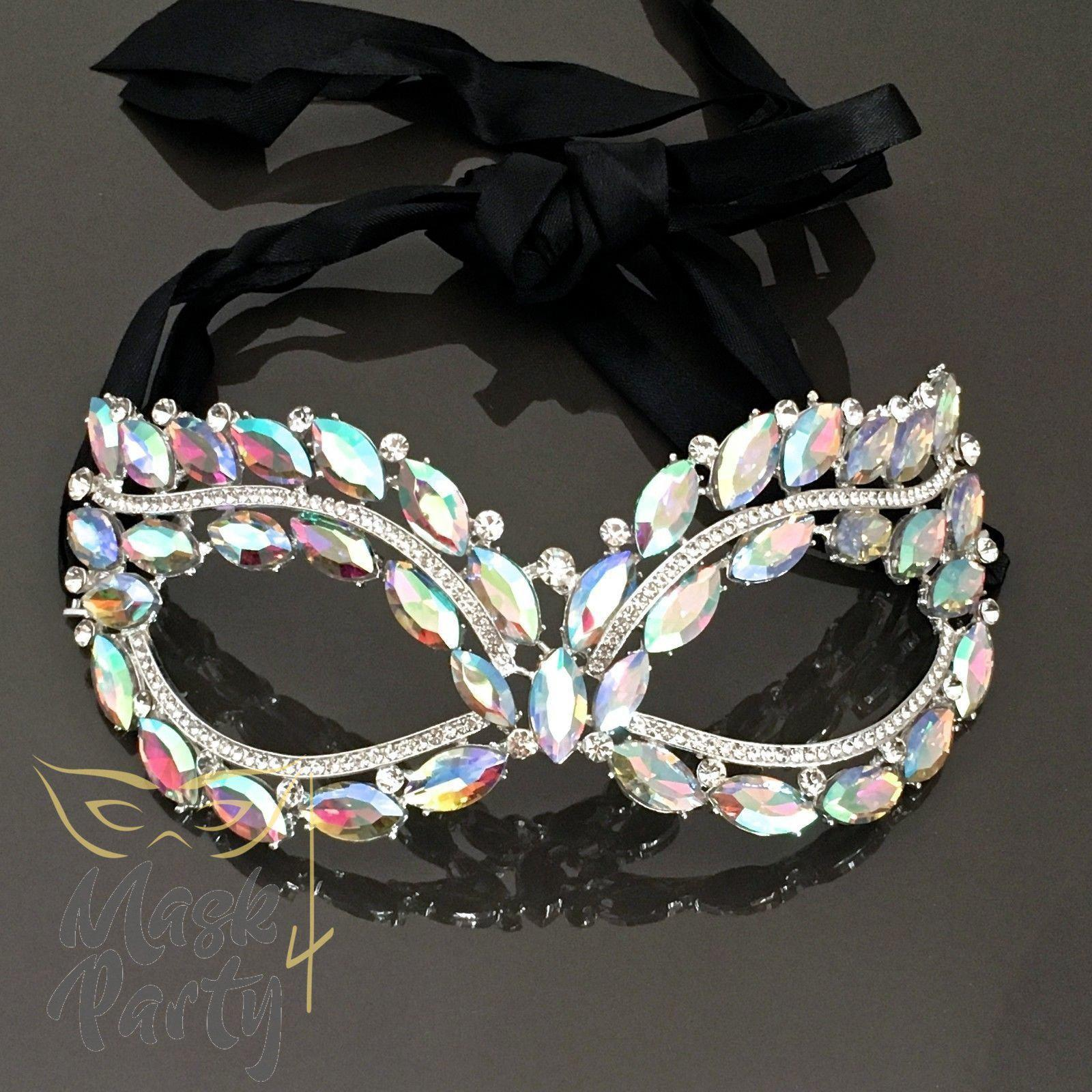 Masquerade Crystal Mask - Filigree Metal Eye - Multi-Color - Mask4Party