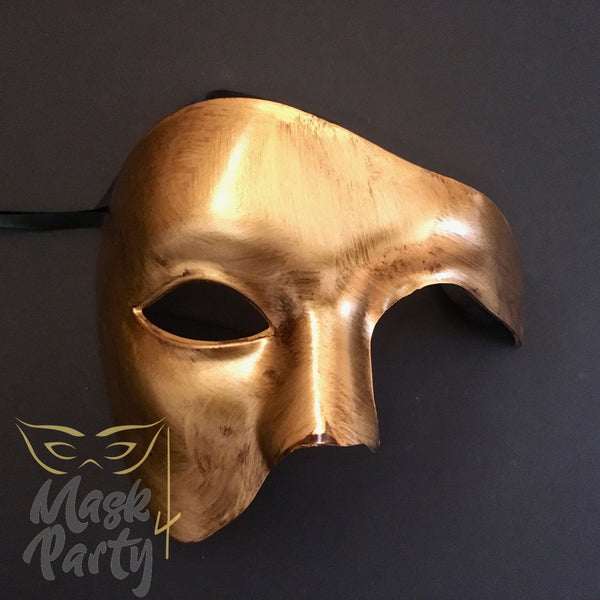 Masquerade Mask - Antique Phantom Of Opera - Gold - Mask4Party
