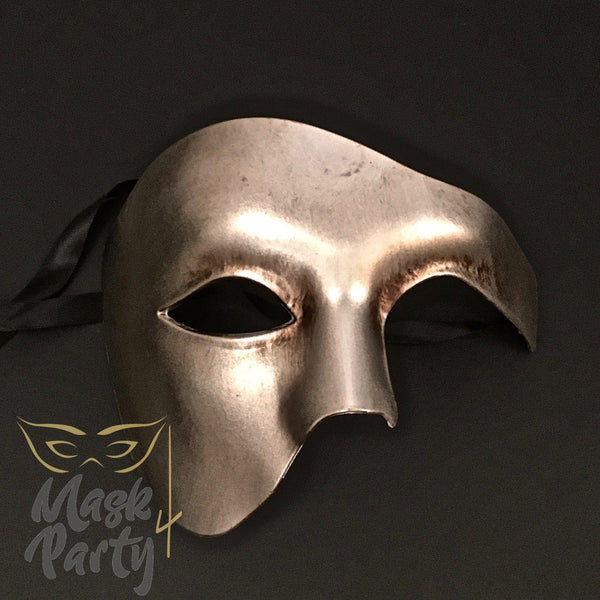 Masquerade Mask - Antique Phantom Of Opera - Silver/Gold - Mask4Party
