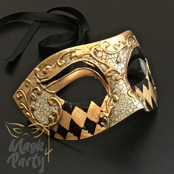 Masquerade Mask - Antique Venetian Eye - Black/Gold - Mask4Party