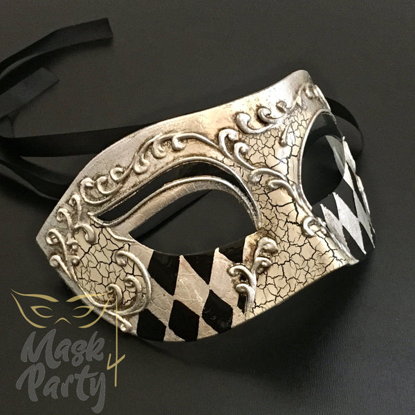 Masquerade Mask - Antique Venetian Eye - Black/Silver - Mask4Party