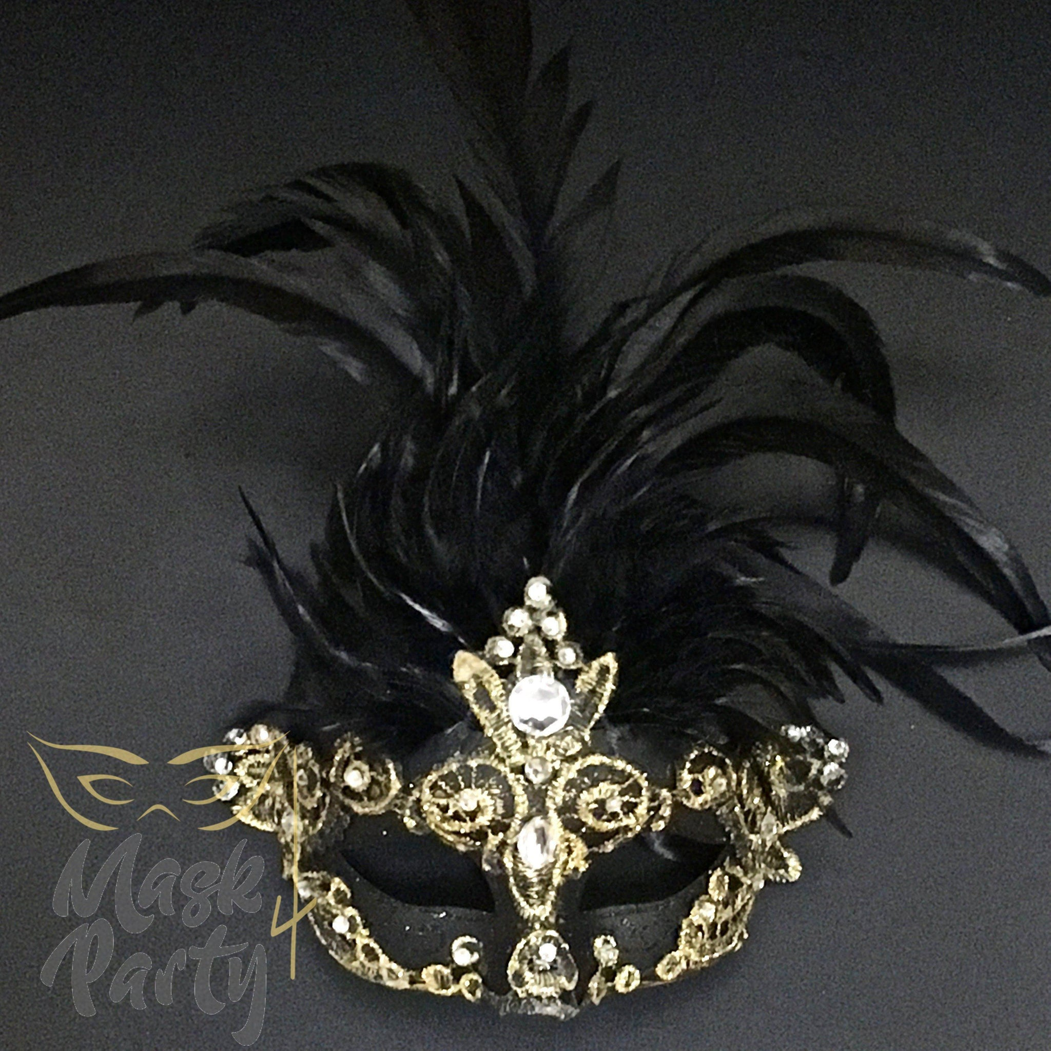 Masquerade Mask - Brocade & Feather - Black/Gold - Mask4Party