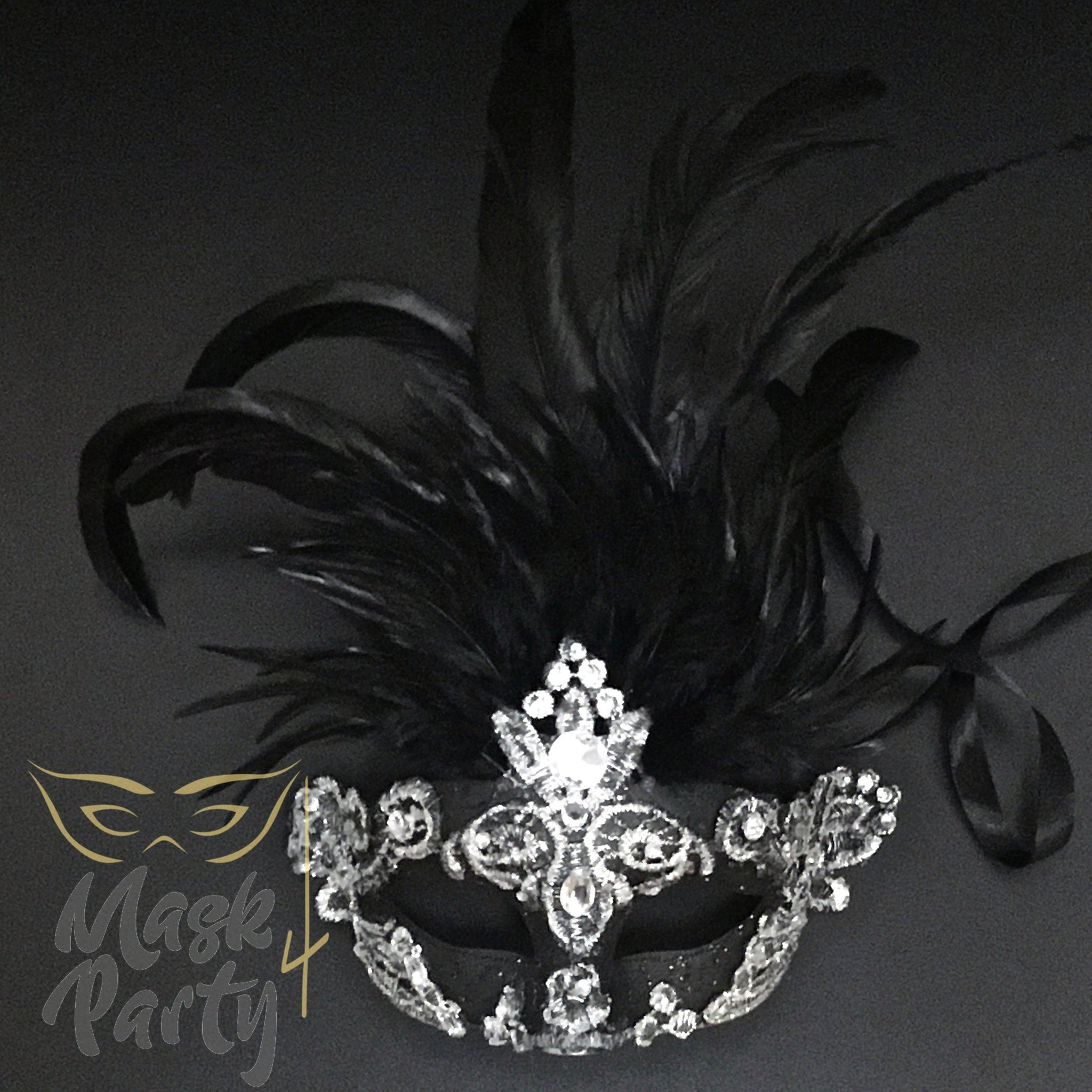 Masquerade Mask - Brocade & Feather - Black/Silver - Mask4Party