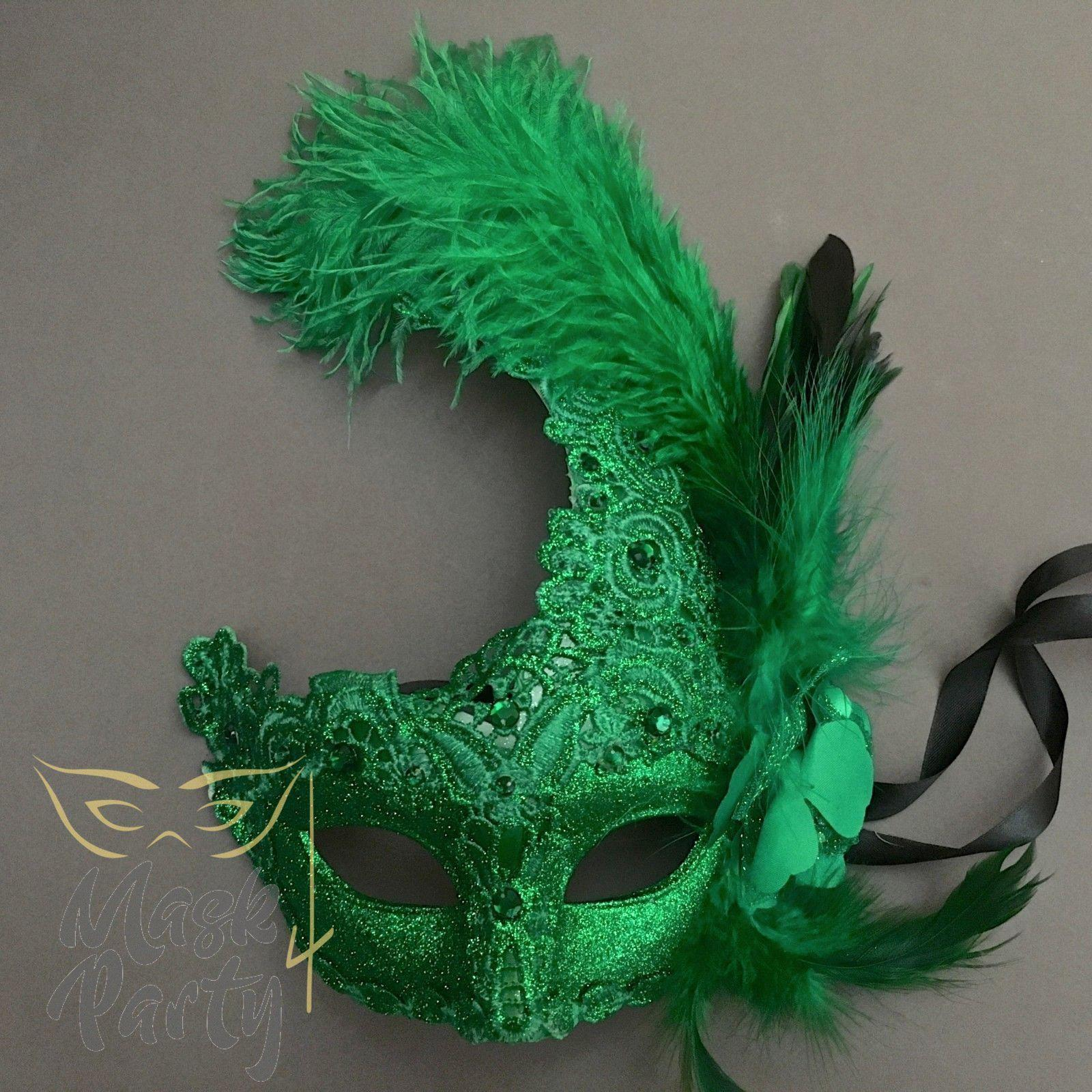 Masquerade Mask - Brocade & Feather - Green - Mask4Party