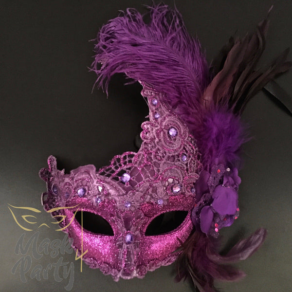Masquerade Mask - Brocade & Feather - Purple - Mask4Party