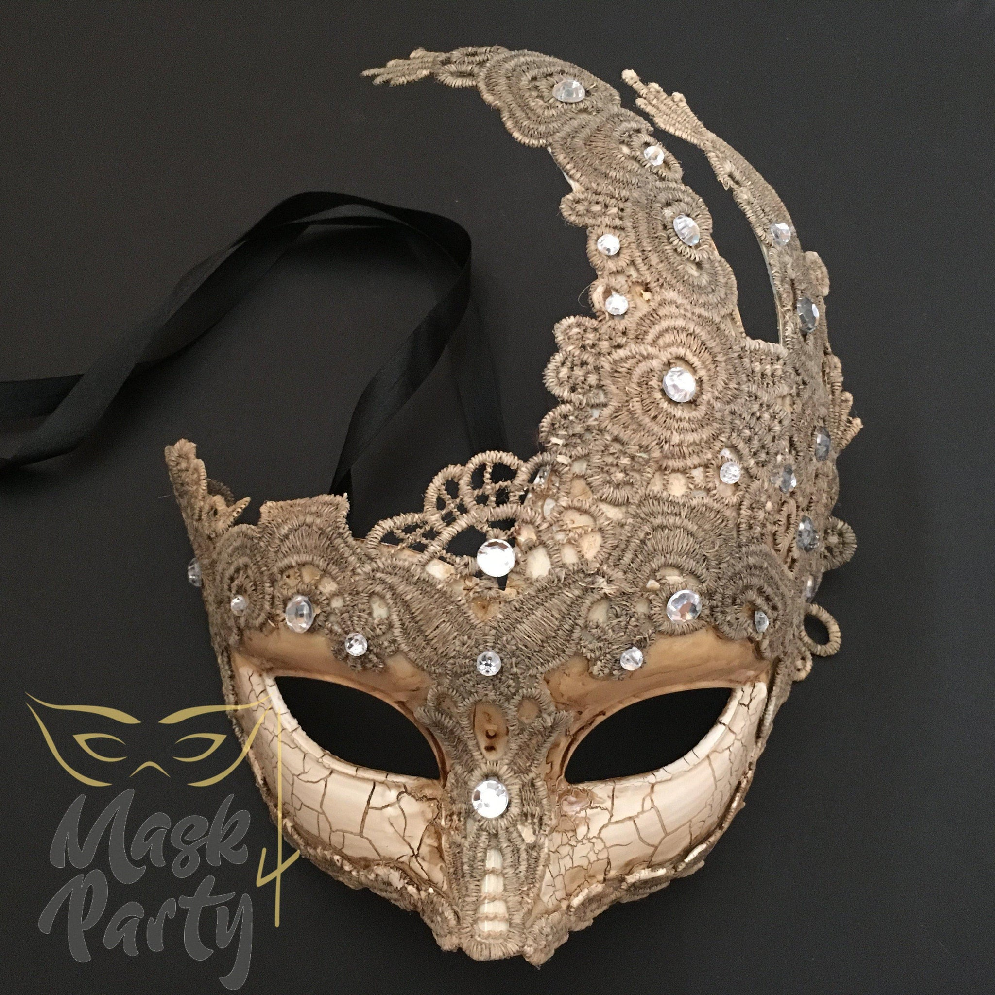 Masquerade Mask - Brocade Lace Clear Rhinestones - Ivory - Mask4Party
