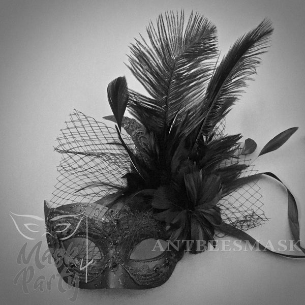 Masquerade Mask - Brocade Lace Feather w/ Net - Black - Mask4Party