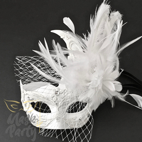 Masquerade Mask - Brocade Lace Feather w/ Net - White - Mask4Party