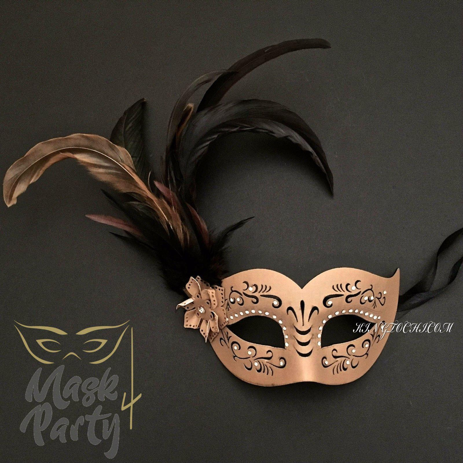 Masquerade Mask - Faux Leather & Feather - Brown - Mask4Party