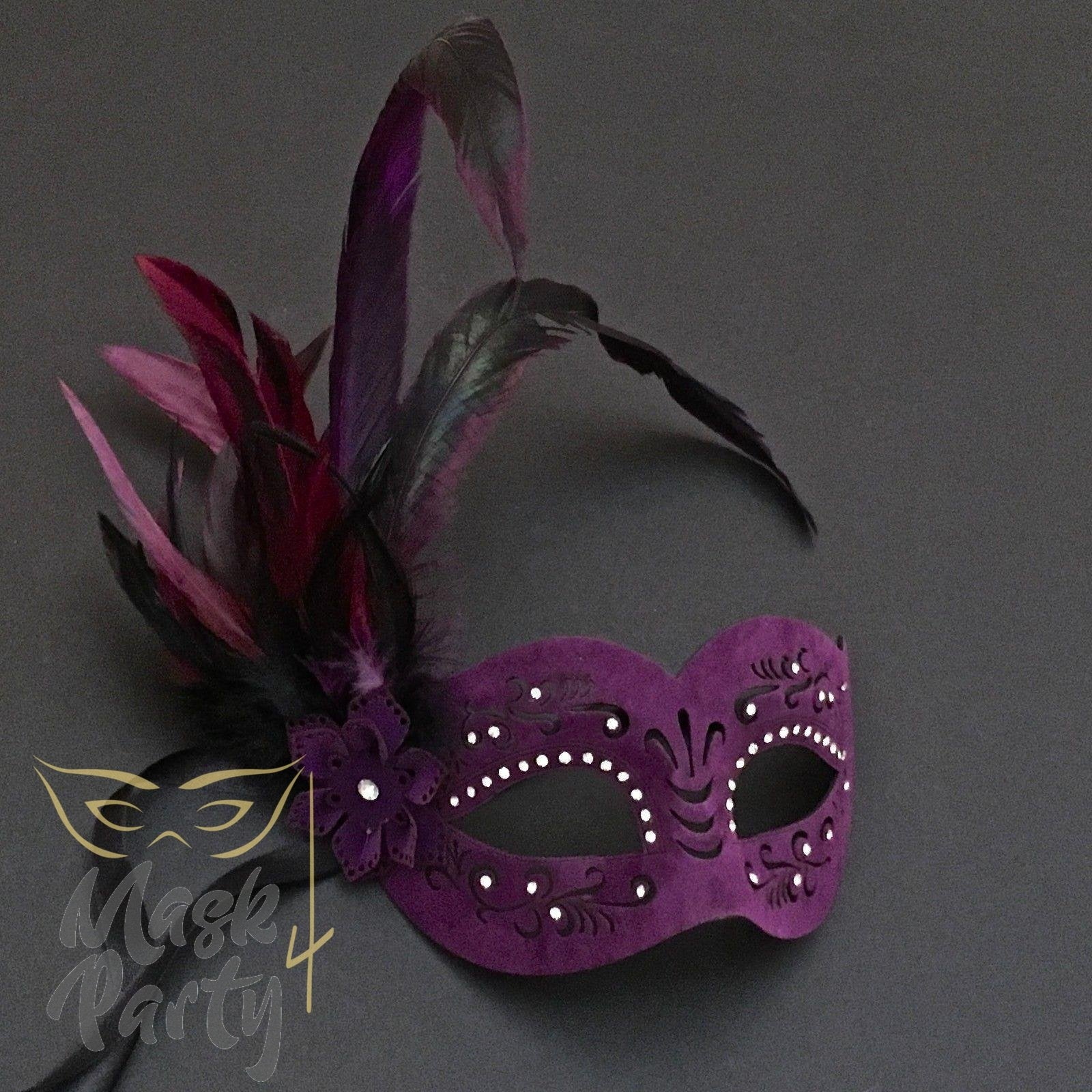Masquerade Mask - Faux Leather & Feather - Purple - Mask4Party