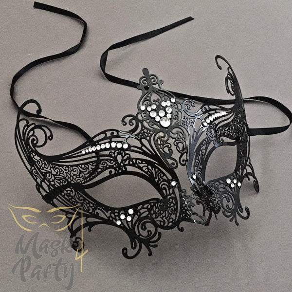 Masquerade Mask - Filigree Crown Metal - Black - Mask4Party