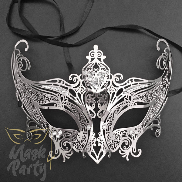 Masquerade Mask - Filigree Crown Metal - Silver w/ Clear Rhinestones - Mask4Party