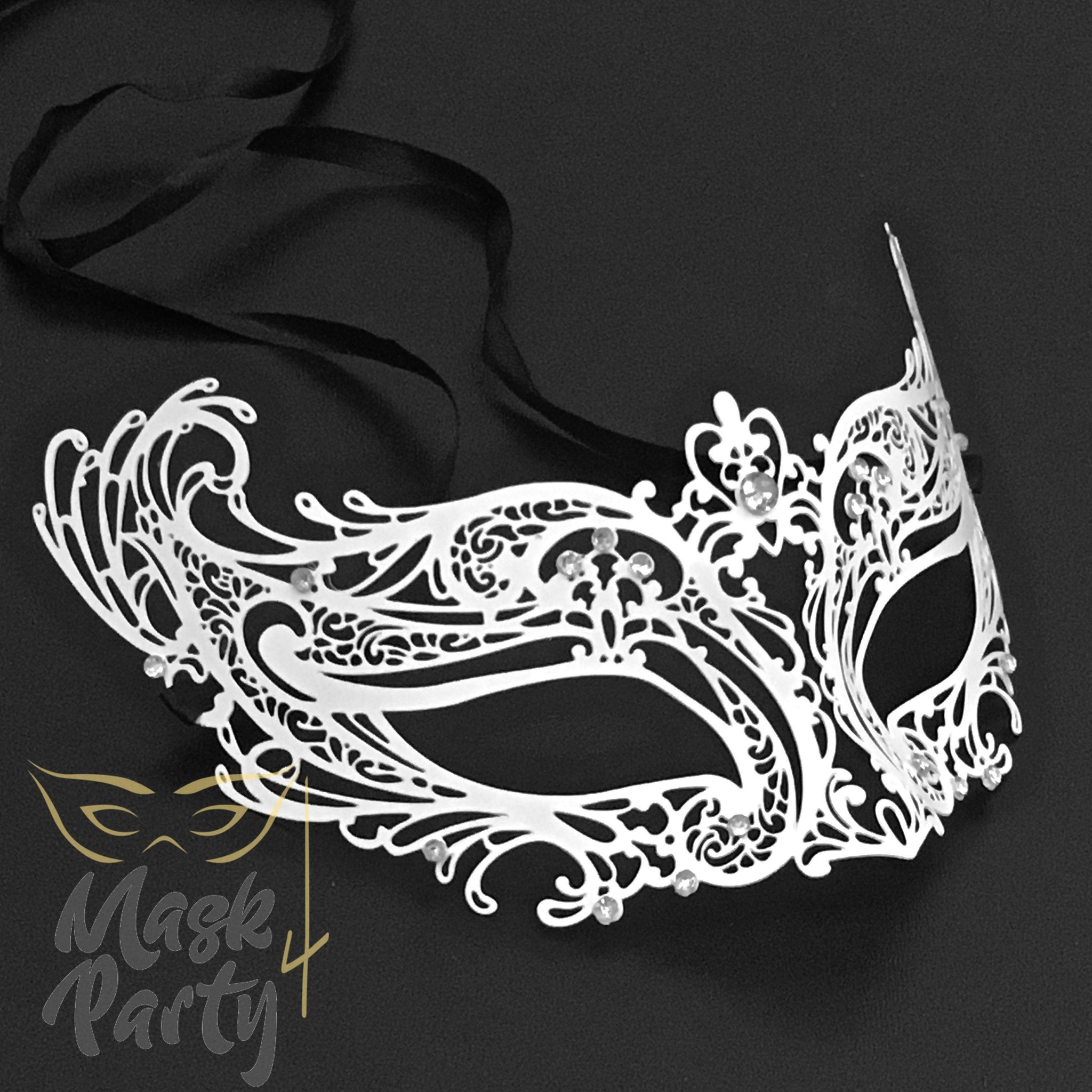 Masquerade Mask - Filigree Crown Metal - White - Mask4Party