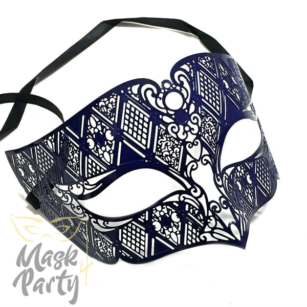 Masquerade Mask - Filigree Metal - Black - Mask4Party