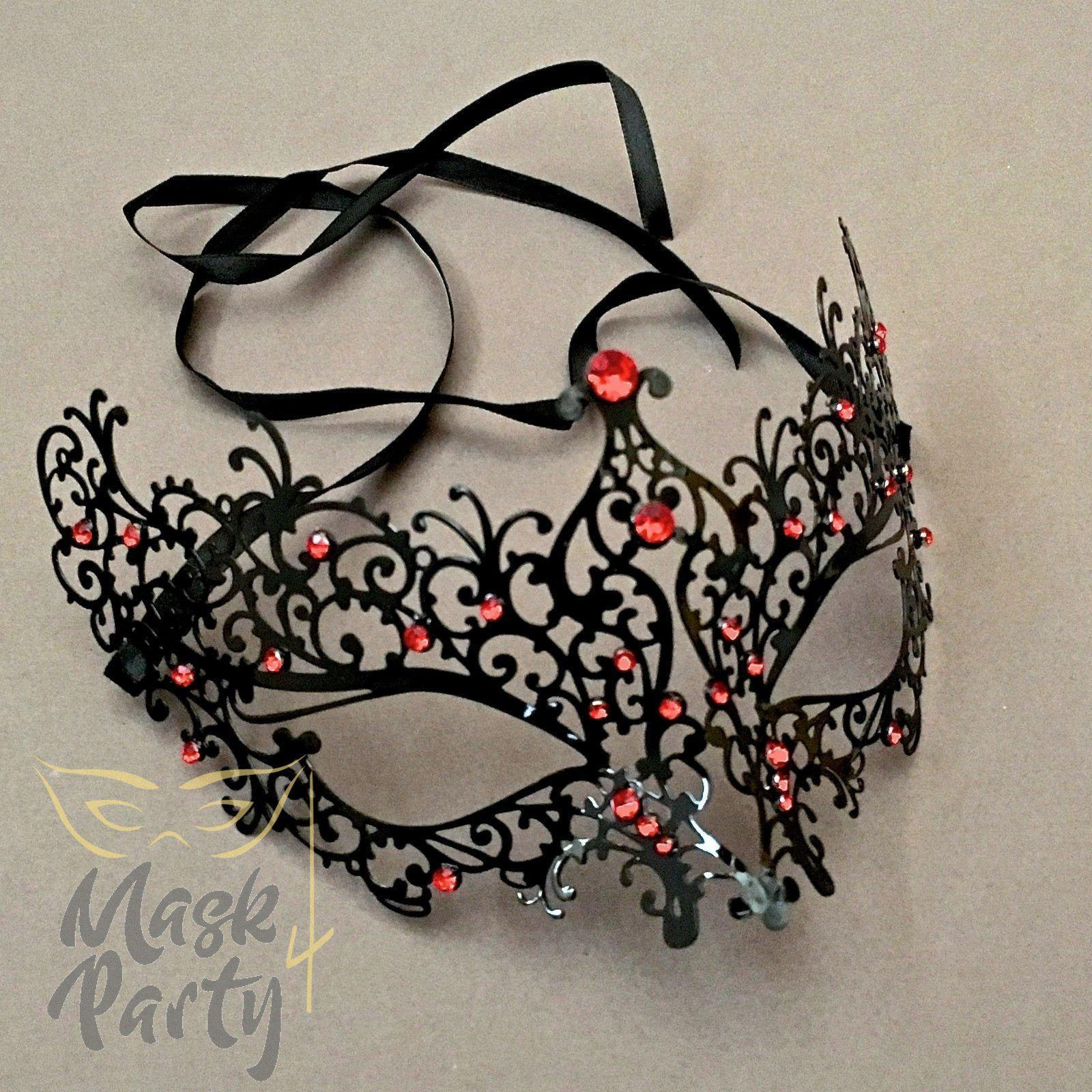 Masquerade Mask - Filigree Metal Eye - Black w/ Red Rhinestones - Mask4Party