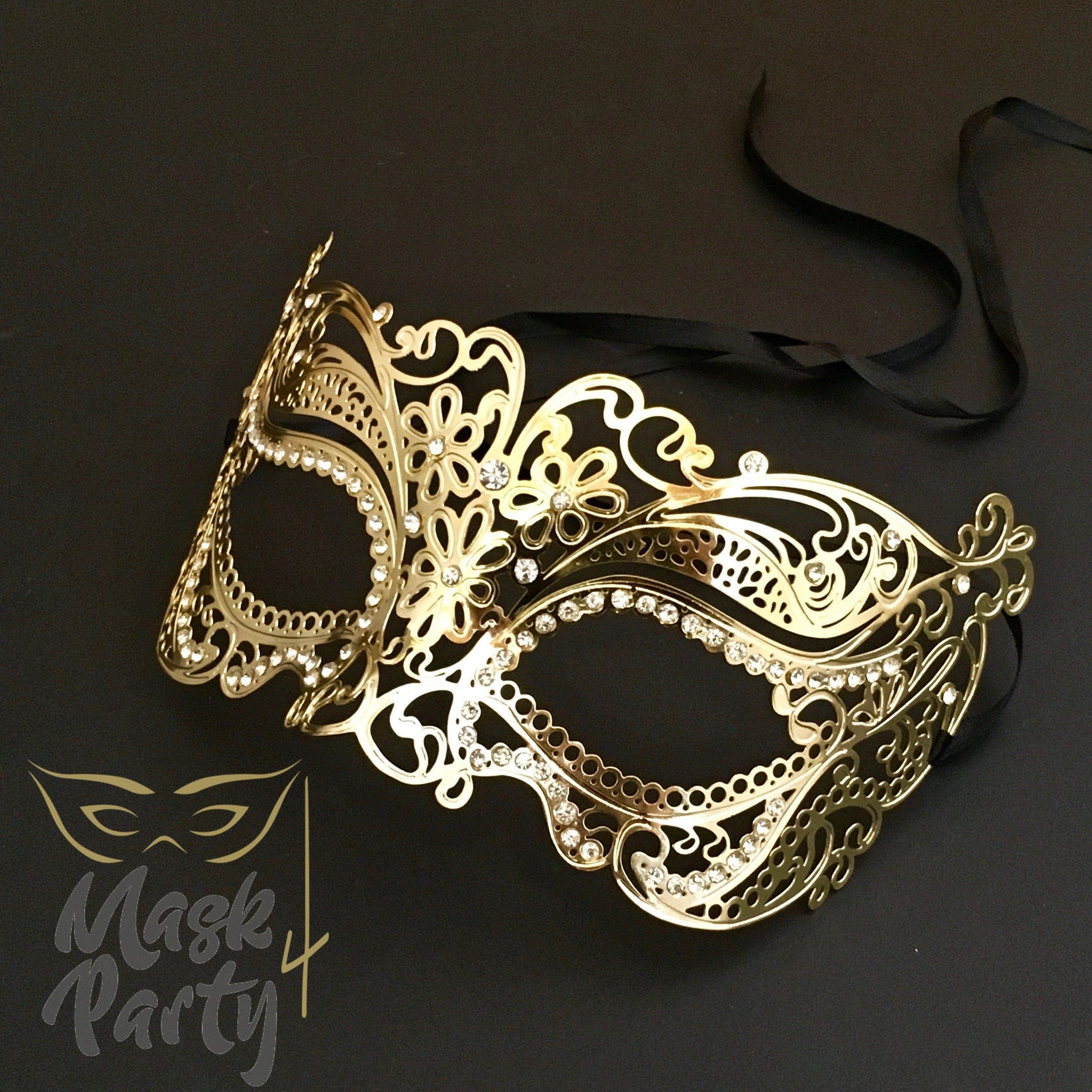 Masquerade Mask - Filigree Metal Eye - Gold - Mask4Party