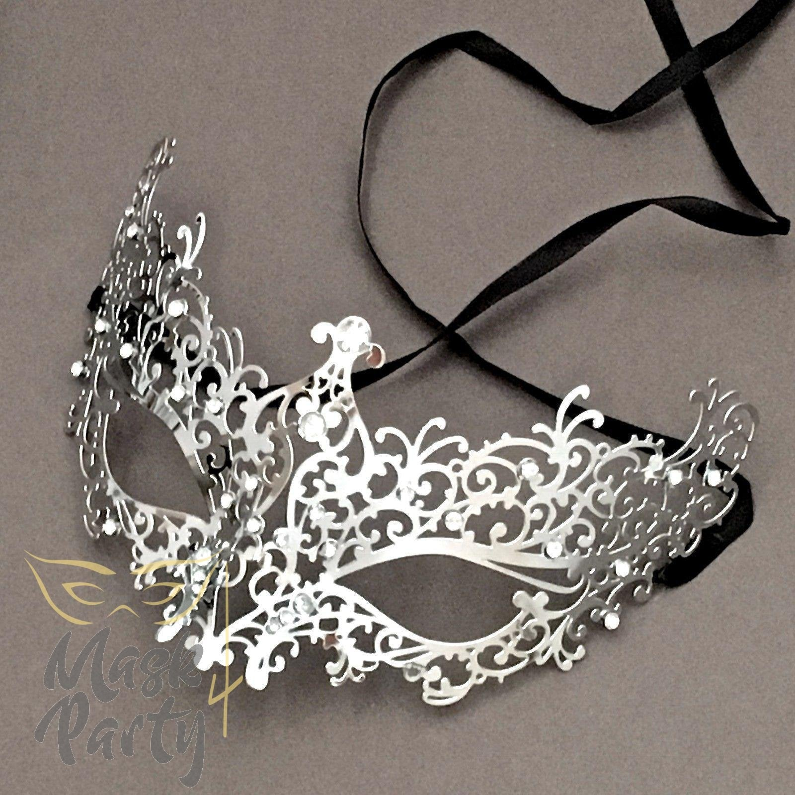 Masquerade Mask - Filigree Metal Eye - Silver w/ Clear Rhinestones - Mask4Party