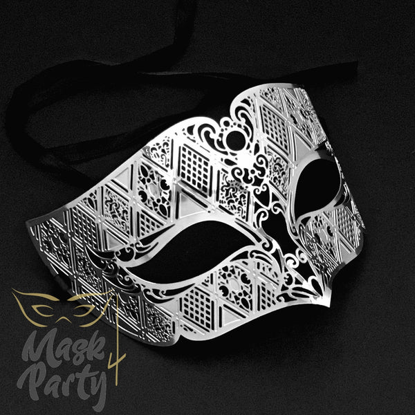 Masquerade Mask - Filigree Metal - Silver - Mask4Party