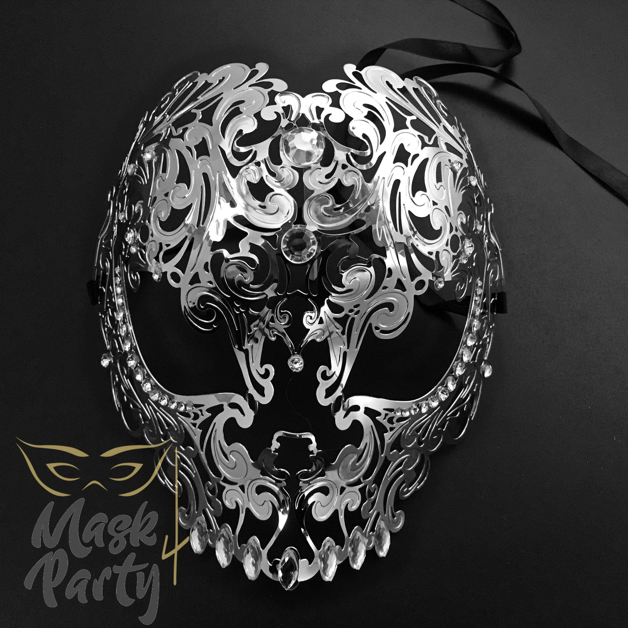 Masquerade Mask - Filigree Metal Skull Full Face - Silver - Mask4Party