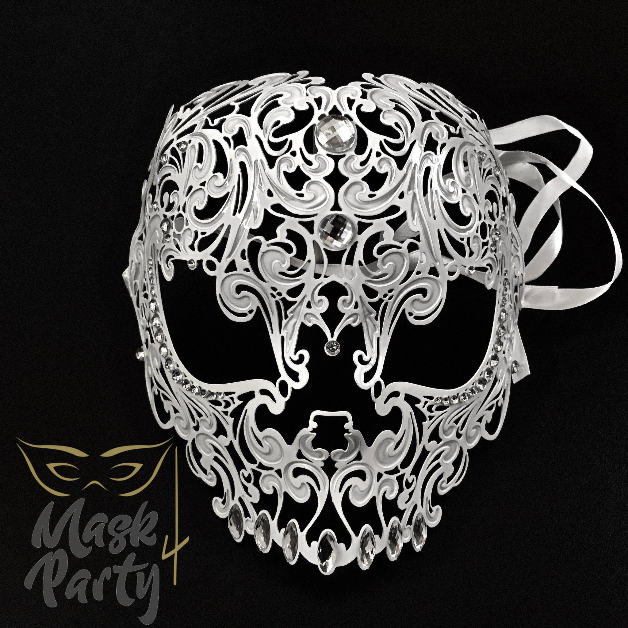 Masquerade Mask - Filigree Metal Skull Full Face - White - Mask4Party