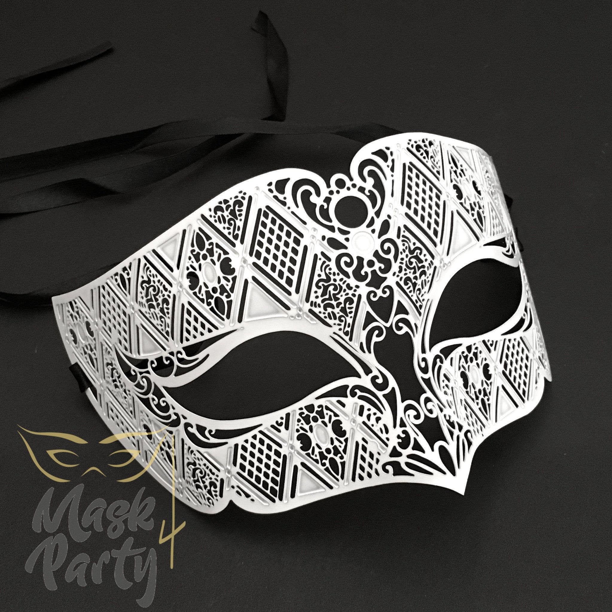 Masquerade Mask - Filigree Metal - White - Mask4Party
