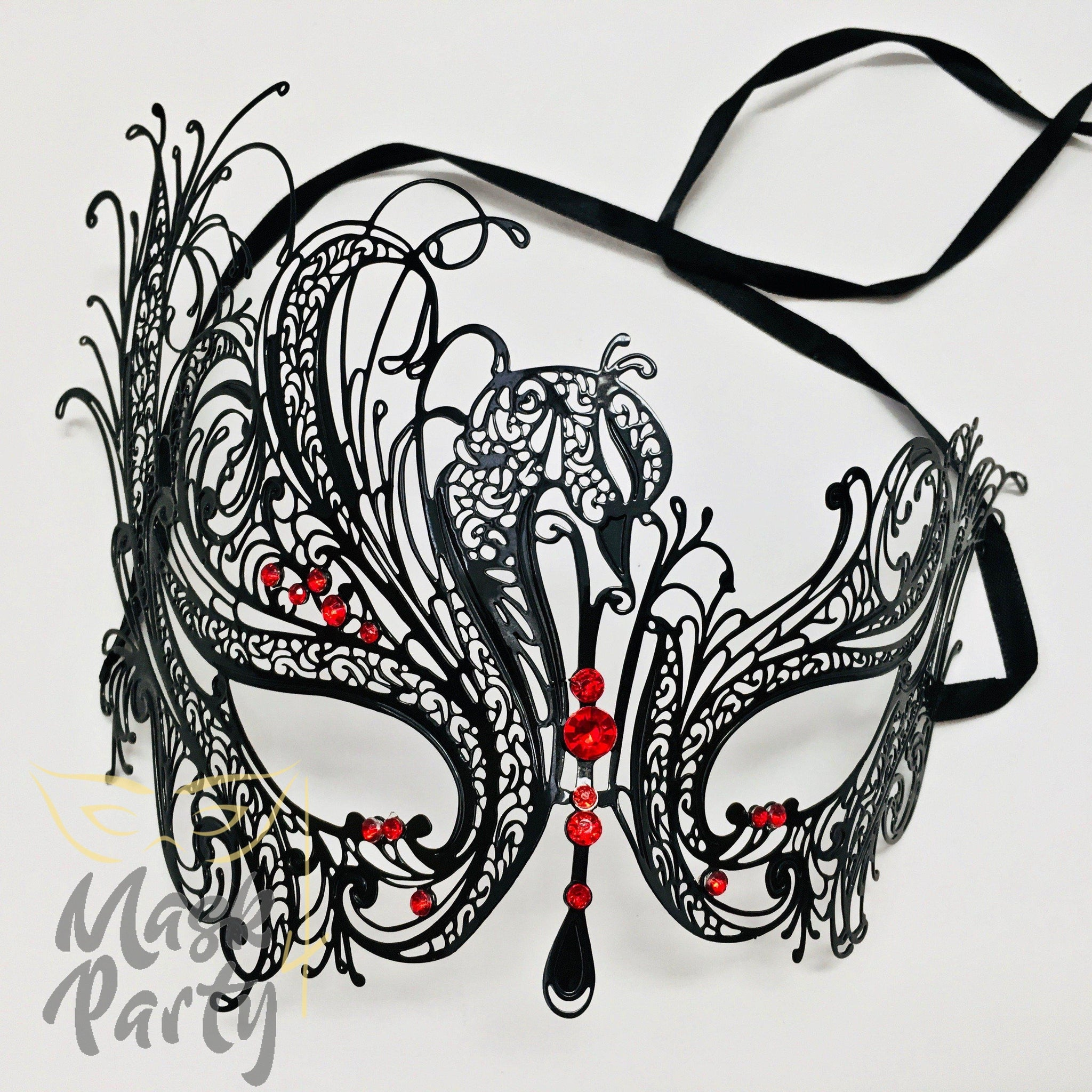 Masquerade Mask - Filigree Swan Metal - Black/Red Rhinestones - Mask4Party