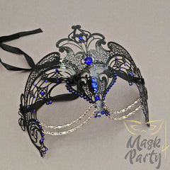 Masquerade Mask - Filigree w/ Chain Metal - Black/Blue Rhinestones - Mask4Party