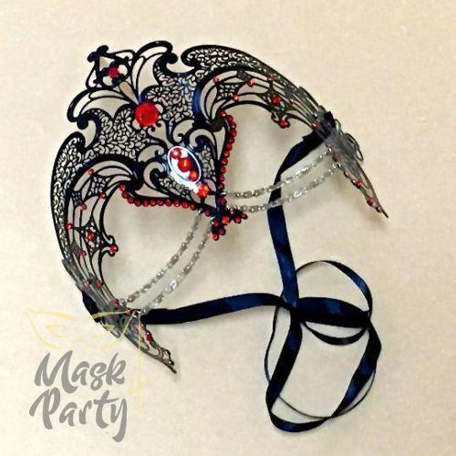 Masquerade Mask - Filigree w/ Chain Metal - Black/Red Rhinestones - Mask4Party