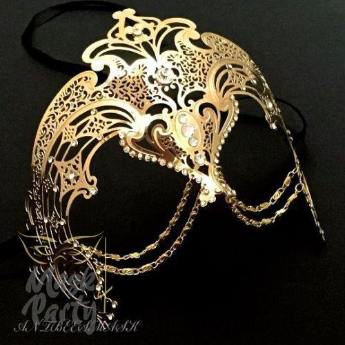 Masquerade Mask - Filigree w/ Chain Metal - Gold - Mask4Party