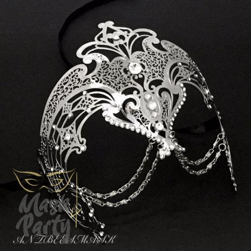 Masquerade Mask - Filigree w/ Chain Metal - Silver - Mask4Party