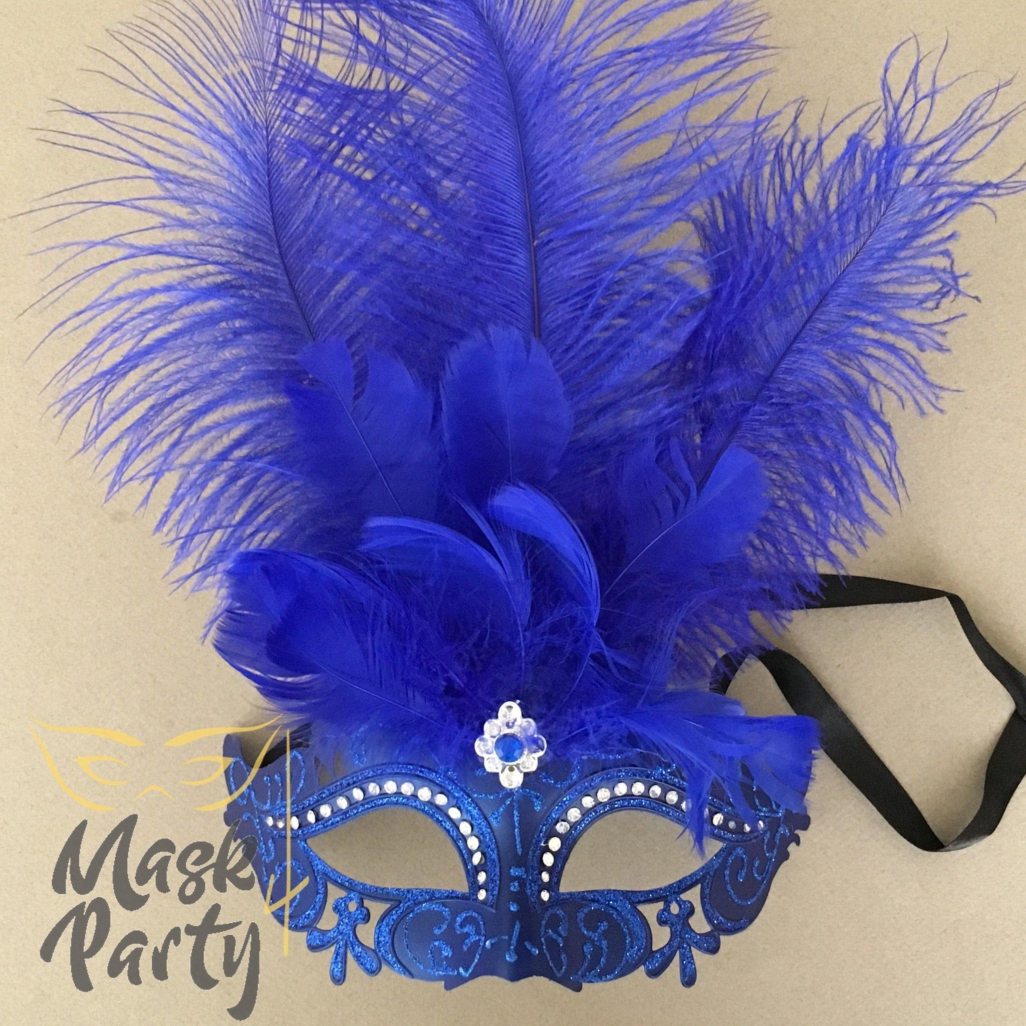 Masquerade Mask - Flapping Feather w/ Crystal - Blue - Mask4Party
