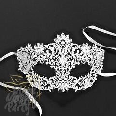 Masquerade Mask - Flower Filigree Metal Eye - White - Mask4Party