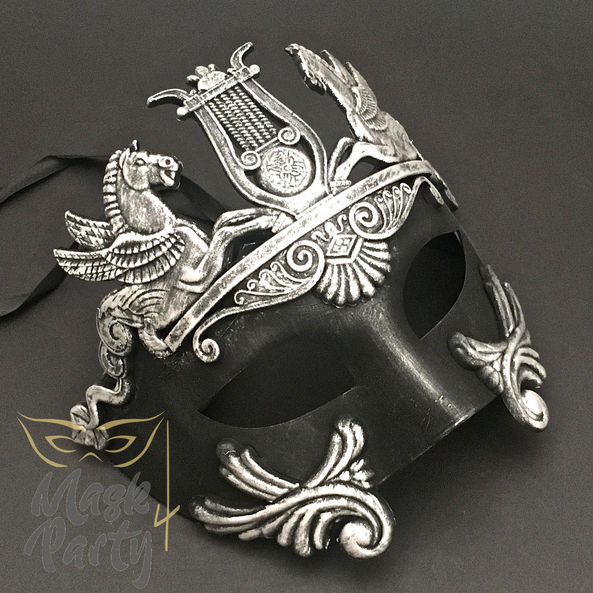 Masquerade Mask - Greek Roman Warrior - Black/Silver - Mask4Party