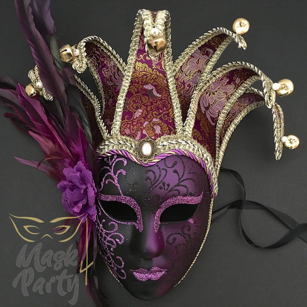 Masquerade Mask - Jolly Jester Feather - Black/Purple - Mask4Party