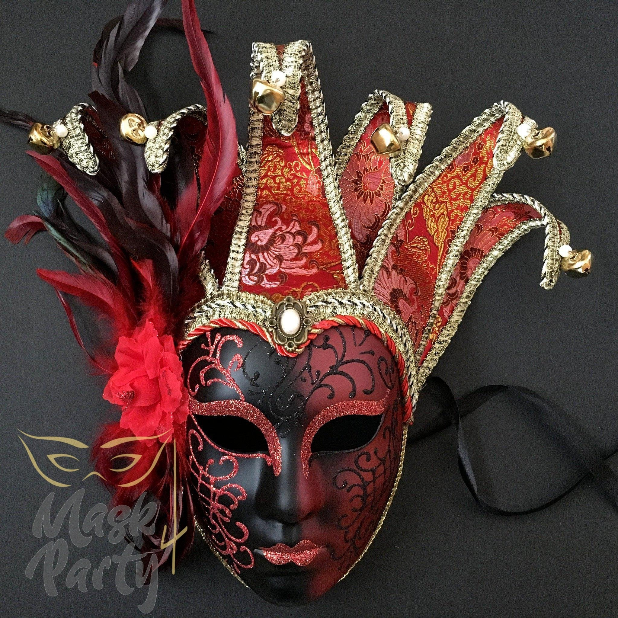 Masquerade Mask - Jolly Jester Feather - Black/Red - Mask4Party
