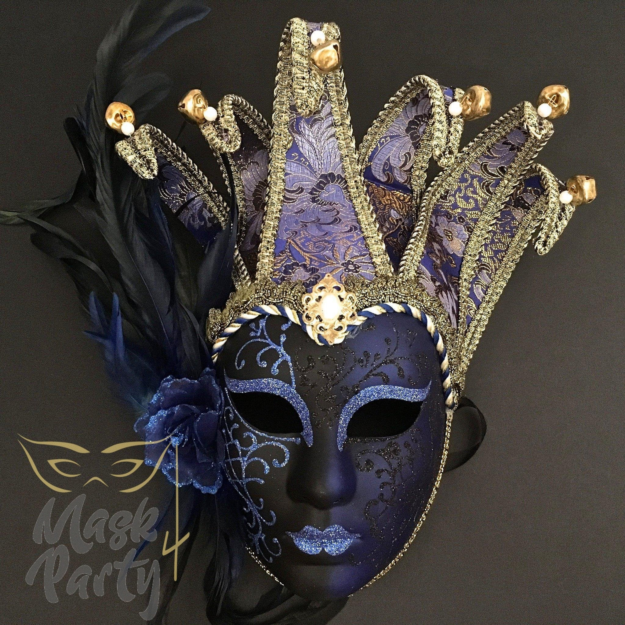 Masquerade Mask - Jolly Jester Feather - Blue/Gold - Mask4Party