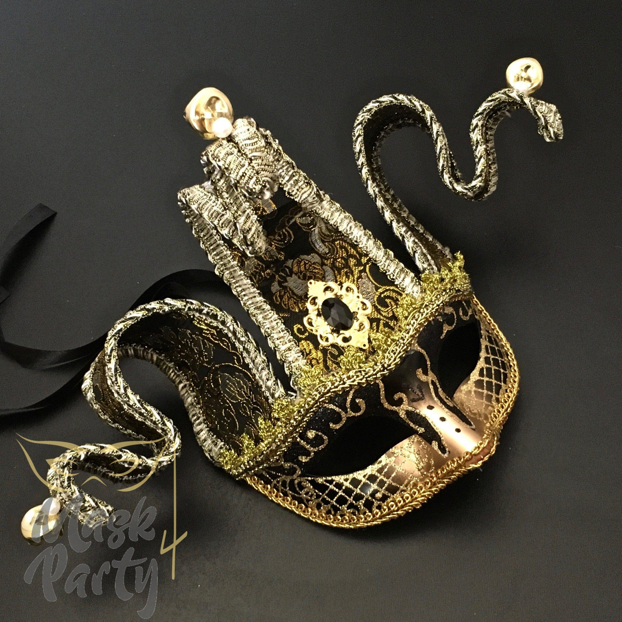 Masquerade Mask - Jolly Jester Mask - Black/Gold - Mask4Party