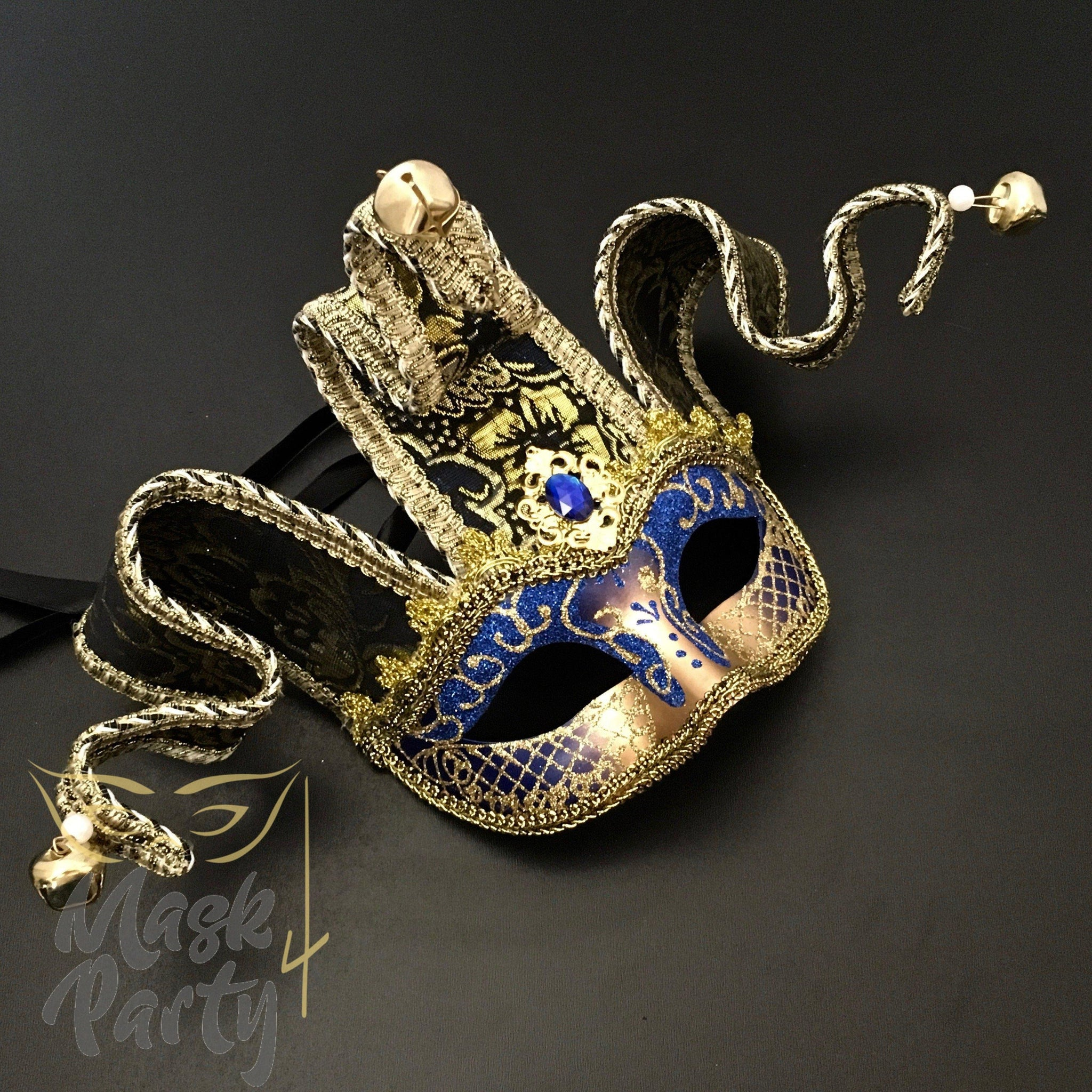 Masquerade Mask - Jolly Jester Mask - Blue/Gold - Mask4Party