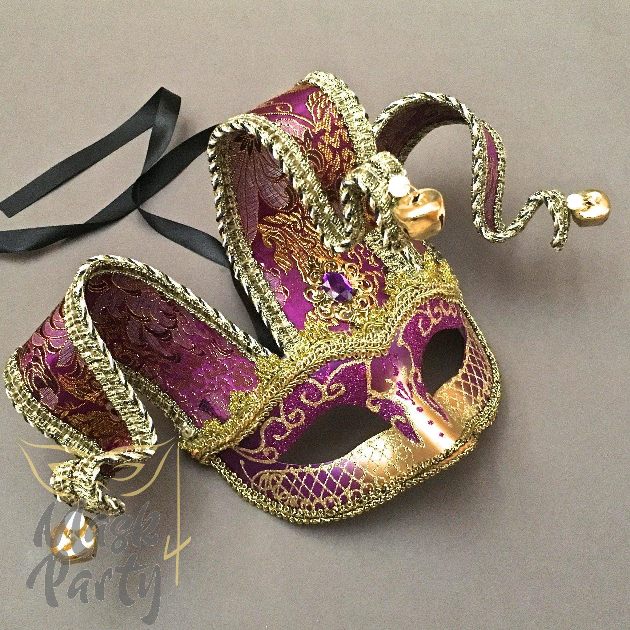 Masquerade Mask - Jolly Jester Mask - Purple & Gold - Mask4Party