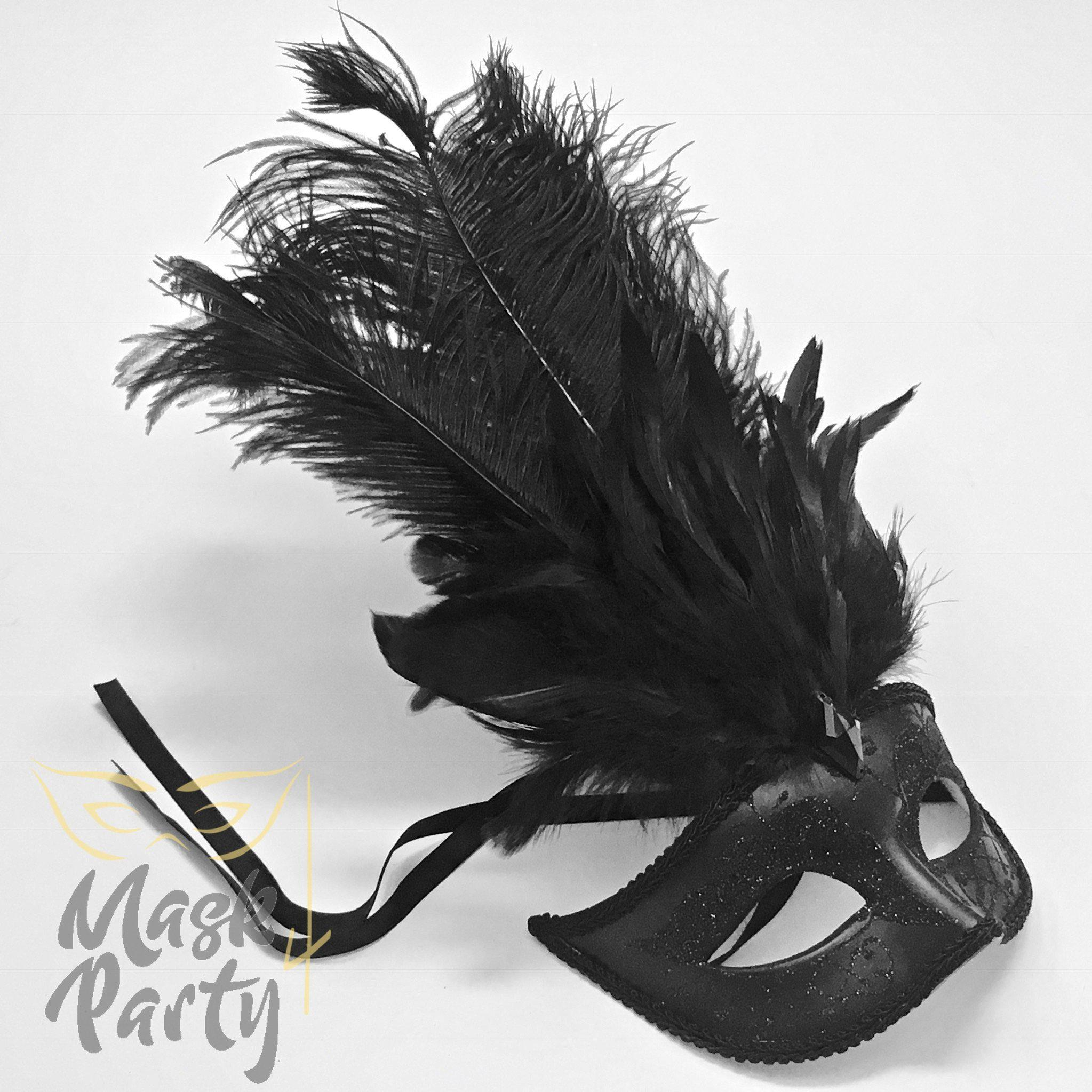 Masquerade Mask - Jubilee Feather - Black - Mask4Party