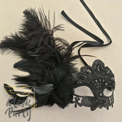 Masquerade Mask - Lace Feather w/ Crystal - Black - Mask4Party