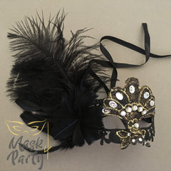 Masquerade Mask - Lace Feather w/ Crystal - Black/Gold - Mask4Party